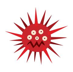 Cartoon viruses characters vector set - stock illustration