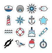Marine sea icons vector set Stock Illustration