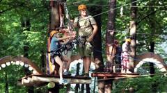 Kids rope park Stock Footage