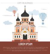 City buildings graphic template. Estonia Stock Illustration