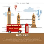 City buildings graphic template. UK. London. Stock Illustration