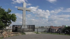Cross on Gellert Hill, over the River Danube to Pest in Budapest, Hungary. Stock Footage