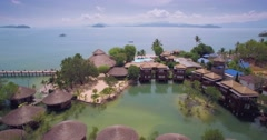 Bungalows on Stilts in a Lagoon in Ko Phayam in Ranong Thailand Stock Footage