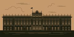 City buildings graphic template. Royal Palace Madrid. Stock Illustration