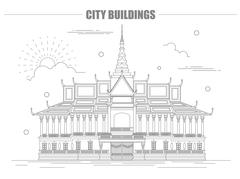 City buildings graphic template. Royal Palace. Cambodia. Stock Illustration