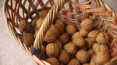 Taking Walnuts Out From The Basket Stock Footage