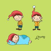 A set of cute little gnomes Stock Illustration