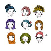 Different faces. Hand drawing isolated objects Stock Illustration