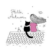 Girl and a cat on the roof Stock Illustration