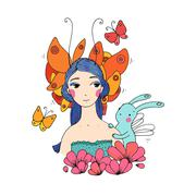 Beautiful young girl, butterflies and hare Stock Illustration