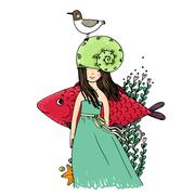 Girl, fish, seagulls, seaweed, starfish, ring Stock Illustration