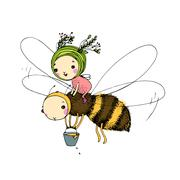 Fairy and the bee on a white background Stock Illustration