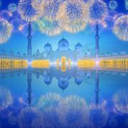 Sheikh Zayed Grand Mosque at dusk, Abu-Dhabi Stock Photos