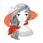 Beautiful young girl sailor and the Japanese carp Stock Illustration