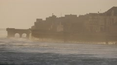 Rough sea with waves and city,Veraval,India Stock Footage
