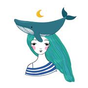 Beautiful young girl sailor with a whale and star in her hair Piirros