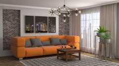 Interior with sofa. 3d illustration Stock Footage
