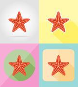 Starfish flat icons vector illustration Stock Illustration