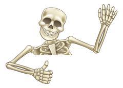 Thumbs Up Cartoon Halloween Skeleton Stock Illustration