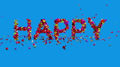 Happy Birthday, 3d animation. Birthday background with text from candy. Stock Footage