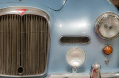 Blue old classic car front view Stock Photos