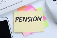 Pension retirement business concept desk Stock Photos