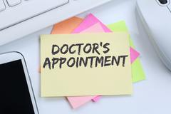 Doctor's medical appointment doctor medicine ill illness healthy health desk Stock Photos