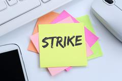 Strike protest action demonstrate jobs, job employees desk Stock Photos