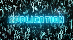 Bluish Application concept with digital code Stock Footage