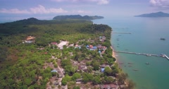 Koh Phayam and Nearby Islands in Ranong, Thailand, Aerial Pan Shot Stock Footage