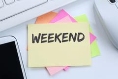Weekend relax relaxed break business concept free time freetime leisure desk Stock Photos