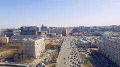 Ariel view. Moscow traffic in suuny day 4K. Belorusskaya ploshad. 13 July 2016 Stock Footage