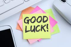 Good luck success successful test wish wishing desk Stock Photos