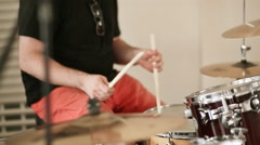 The drummer plays the drums Stock Footage