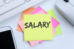 Salary increase negotiation wages money finance business concept desk Stock Photos