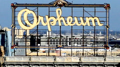 Historic Orpheum Rooftop Sign in Downtown Los Angeles Stock Footage