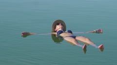 Tourist floating  at sea Stock Footage