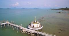 Buddhist Temple Built Over The Sea on Phayam Island, Thailand,  Orbital Shot Stock Footage