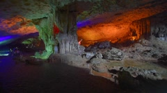 Thien Cung Cave (Heavenly Palace Cave), Halong Bay, Vietnam Stock Footage