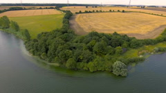 Lake Shore Flyby Aerial Shot Stock Footage