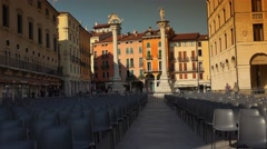 Clock tower and big main square in Vicenza,Italy, ULTRA HD 4k, real time Stock Footage