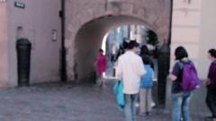 Castle arch blur tourists Stock Footage