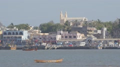 Town and harbour in bay,Diu,India Stock Footage