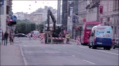 City road repair bokeh blur Stock Footage