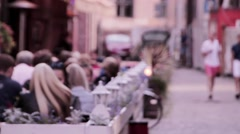 Abstract blur image of day market on street for background usage. (vintage tone Stock Footage
