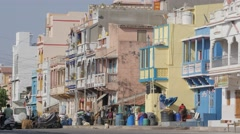 Colorful houses along street,Diu,India Stock Footage