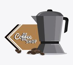 Coffee kettle pot shop beverage icon Stock Illustration