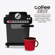Coffee mug cup machine shop beverage icon - stock illustration