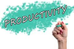 Word productivity written by a hand Stock Photos