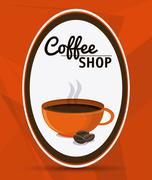 Coffee mug cup bean shop beverage icon - stock illustration